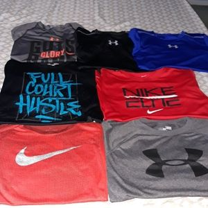 7 pack Boys large nike & under armour t shirts